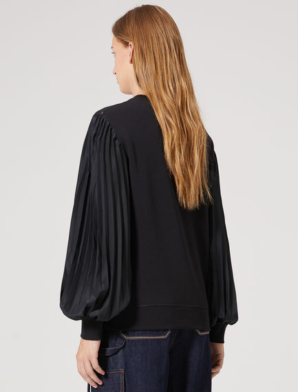 Crêpe Sleeve Sculpted Sweatshirt