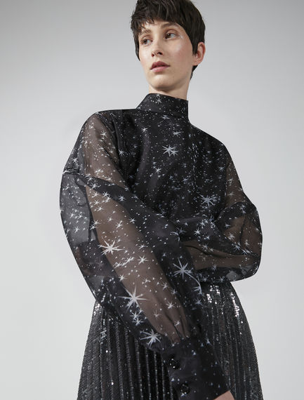 Puff Sleeve Neoprene & Silk Blouse Sportmax