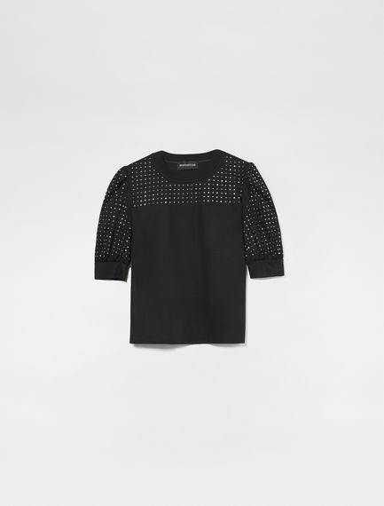 Puff Sleeve Rhinestone T-Shirt