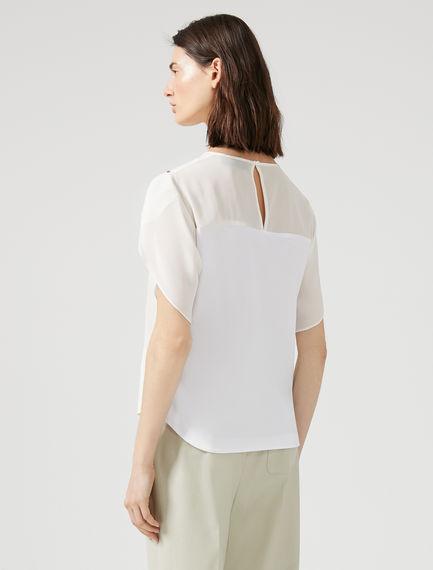 Tulip Sleeve Silk T-Shirt