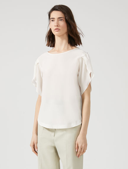 Tulip Sleeve Silk T-Shirt