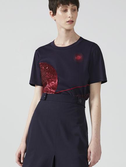 T-shirt con ricami e paillette Sportmax