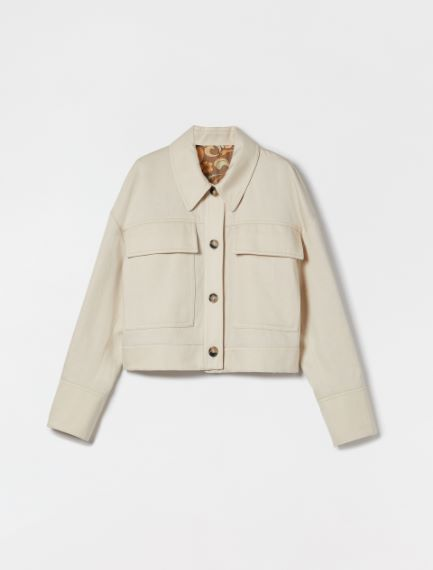 Reversible jacket in cotton and linen gabardine