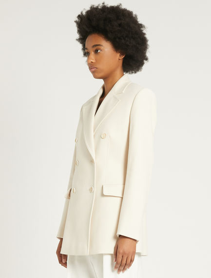 Stretch cotton double-breasted blazer