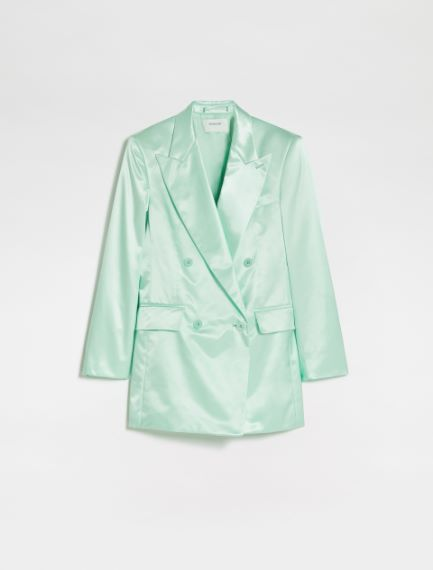 Double-breasted duchesse blazer