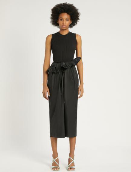 Stretch cotton poplin skirt