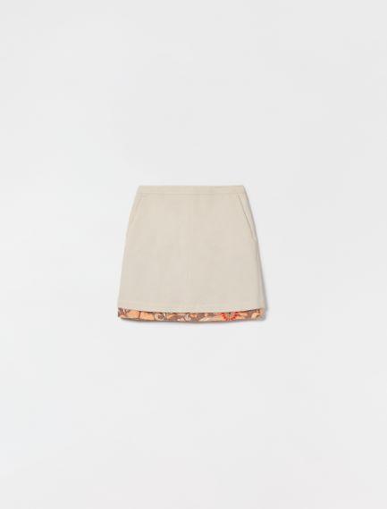 Reversible gabardine skirt