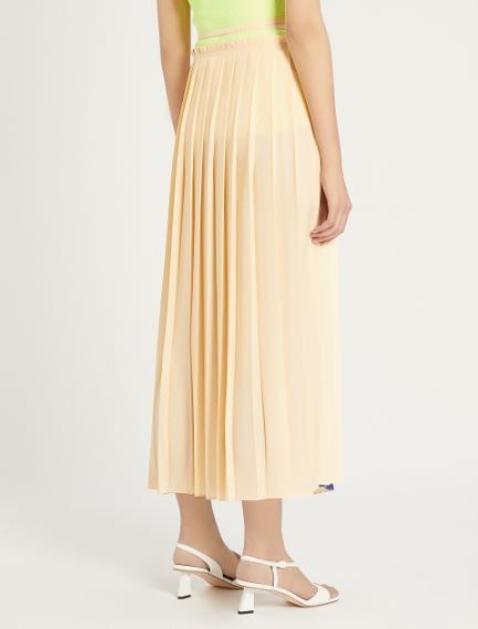 Pleated crepe de chine skirt