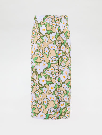 Floral-print cotton jacquard skirt