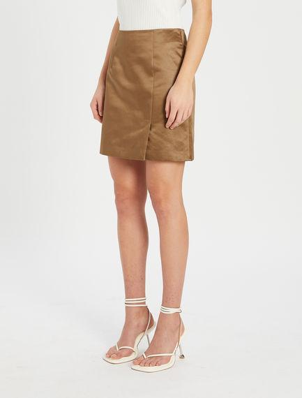 Mini skirt in heavy satin