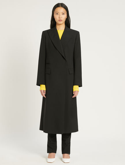 Asymmetric stretch wool coat