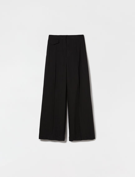 Viscose and ramie trousers