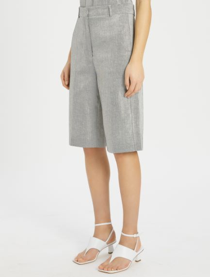 Linen and cotton twill Bermuda shorts