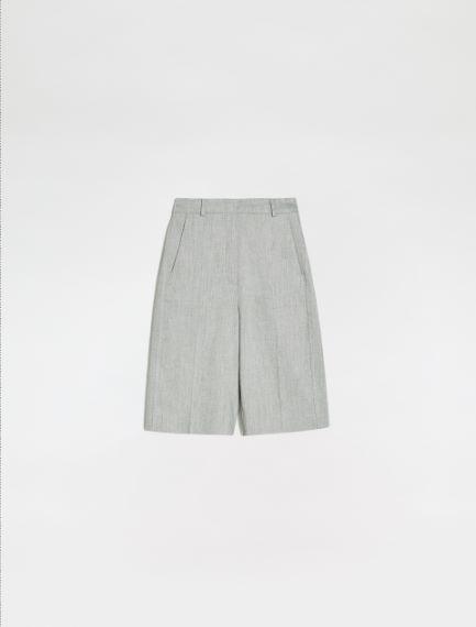 Linen and cotton twill Bermuda shorts