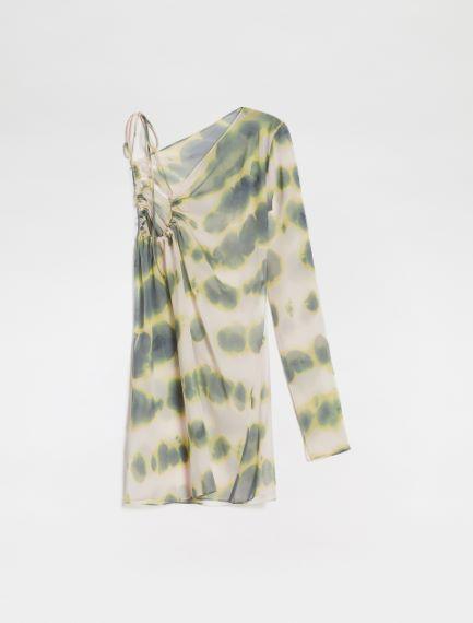 Asymmetric tie-dye print blouse