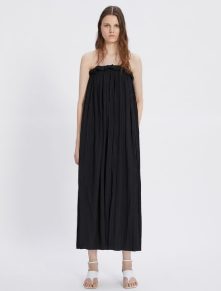 Satin dress with sunray pleating
