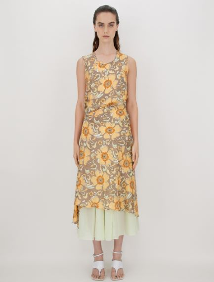 Reversible dress in organic cotton voile
