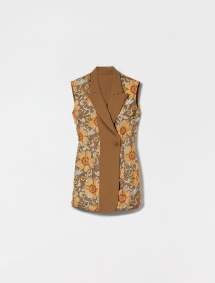 Reversible waistcoat in gabardine