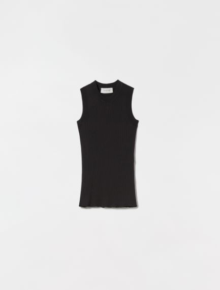 Fine-rib cotton vest top