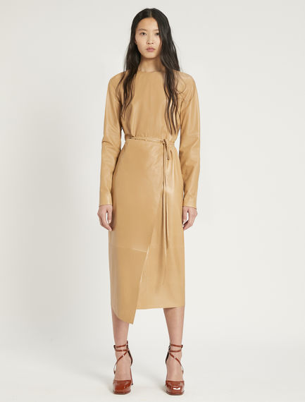 Nappa leather wrap dress