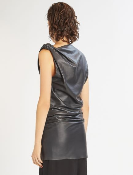 One-shoulder Nappa leather dress