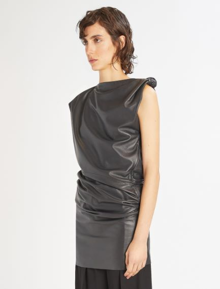 One-shoulder Nappa leather dress Sportmax