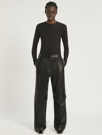 2-in-1 Nappa leather trousers