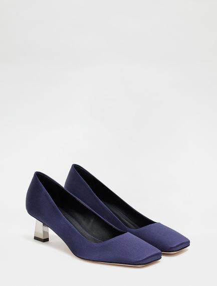 Sculpted-heel court shoes