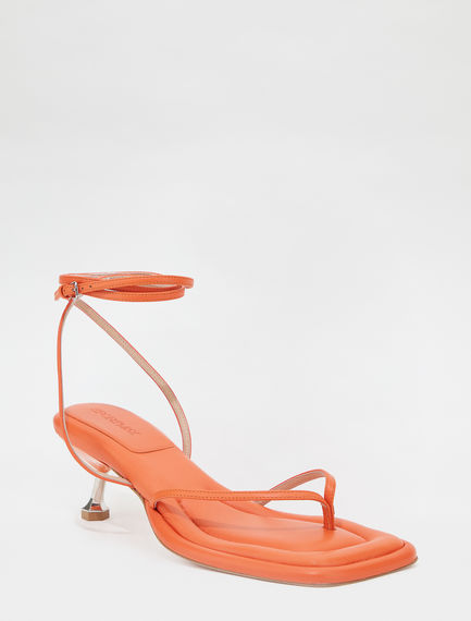 Transparent insert-embellished toe-post sandals