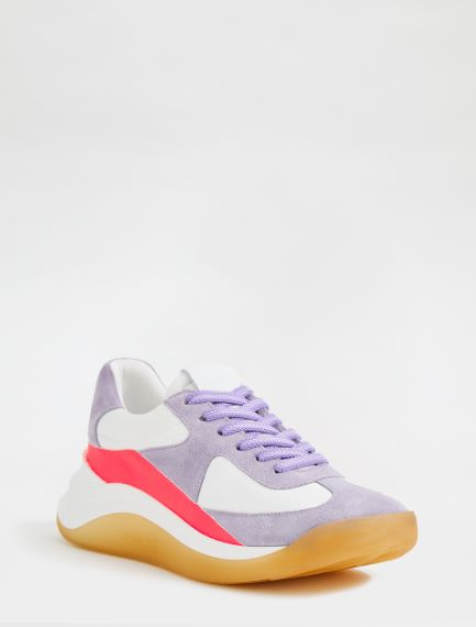Leather and nylon sneakers