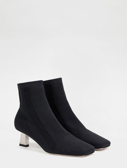 Lurex-knit ankle boots