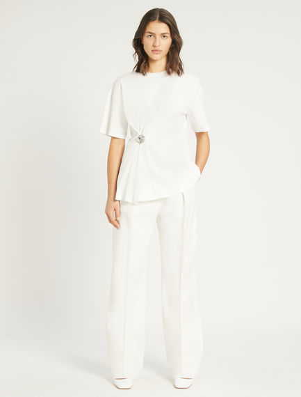 Bejewelled-button T-shirt