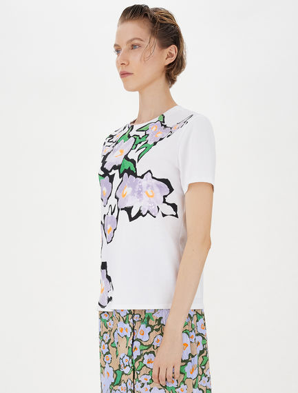 Embroidery and sequin-embellished T-shirt