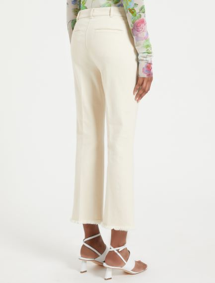 Fringed cotton trousers
