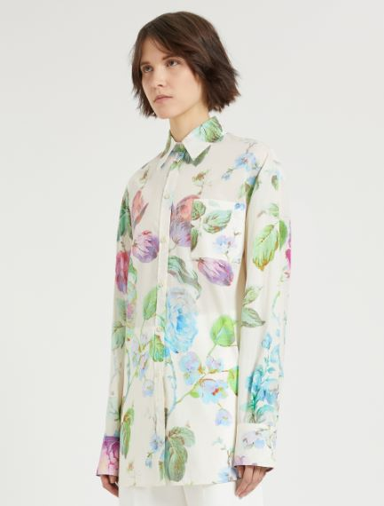 Oversized rose-print shirt