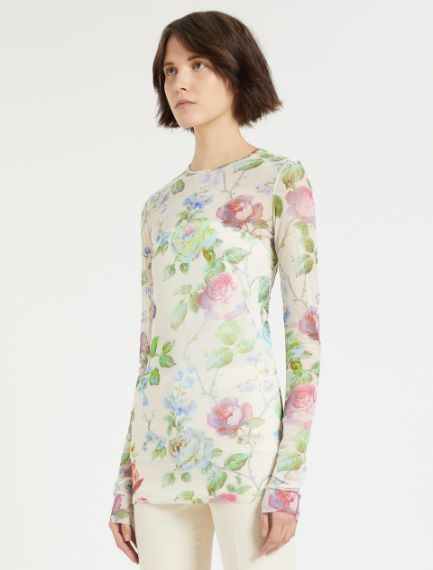 Printed tulle T-shirt