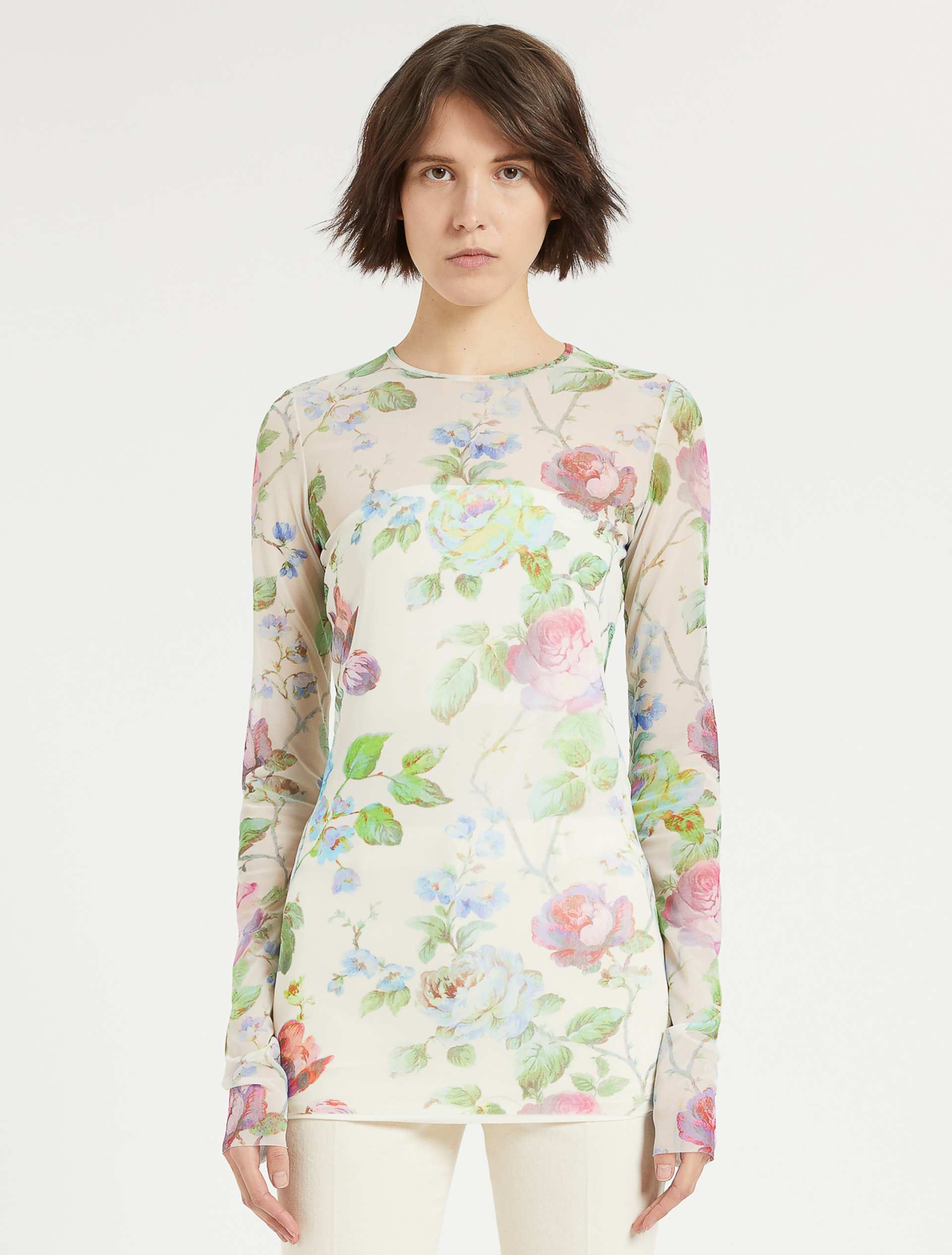 SPORTMAX - T-SHIRT IN TULLE STAMPATO