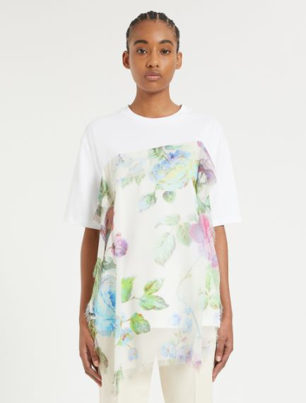 Printed silk panel-embellished T-shirt