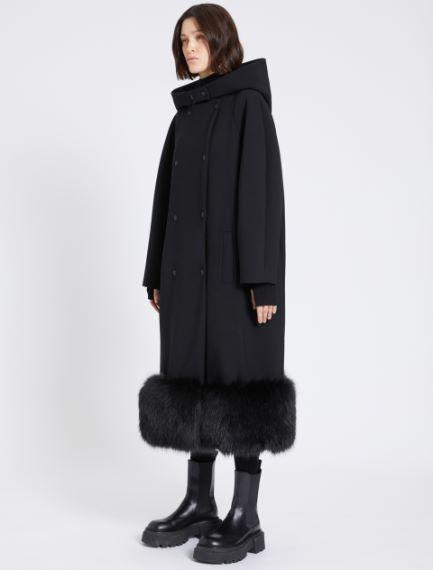 Coat with faux-fur trim