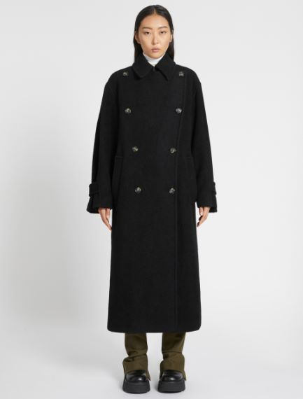 Oversized lambskin-look wool coat