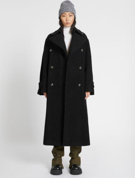 Cappotto over in lana agnellata