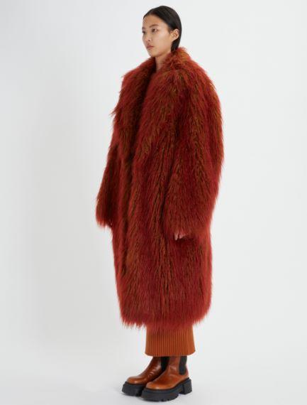 Single-breasted, long-pile coat