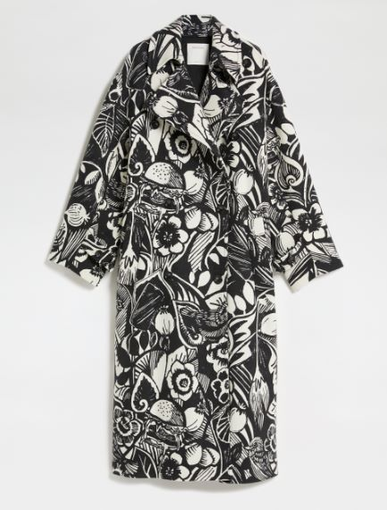 Floral-patterned oversized wool coat