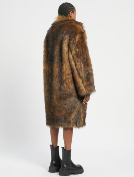 Long-haired faux fur coat