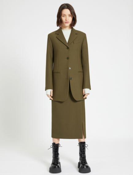 Slit calf-length skirt
