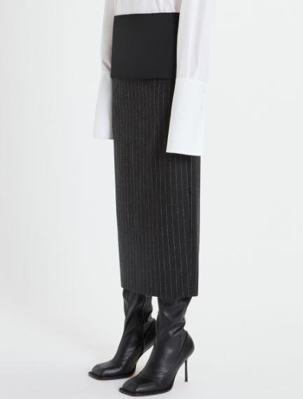 Pinstriped wool flannel pencil skirt
