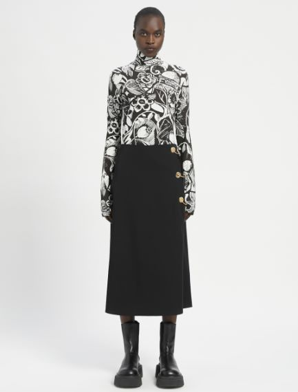 Flared skirt with piercing detail