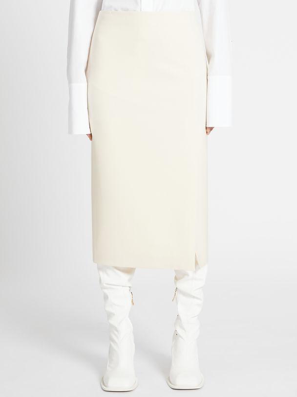 Stretch wool-blend straight skirt