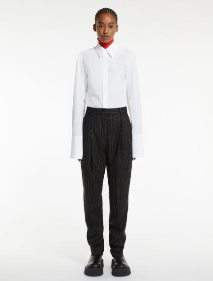 Flannel carrot-fit trousers