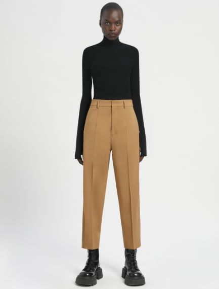 Pleated carrot-fit trousers